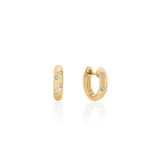9ct Yellow Gold Droplet Diamond Huggie Earring