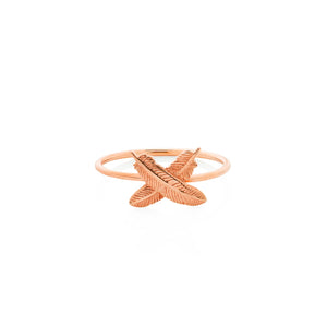 9ct Rose Gold Feather Kisses Ring