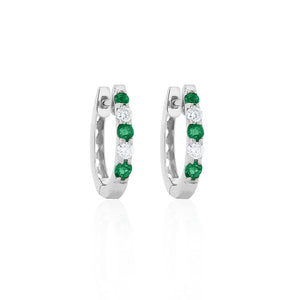 9ct White Gold Emerald Diamond Hoop Earrings