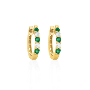 9ct Yellow Gold Emerald Diamond Hoop Earrings
