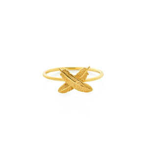 9ct Yellow Gold Feather Kisses Ring