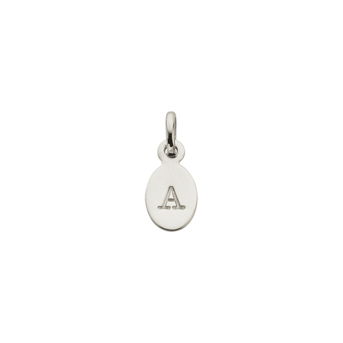 Silver A Oval letter Charm