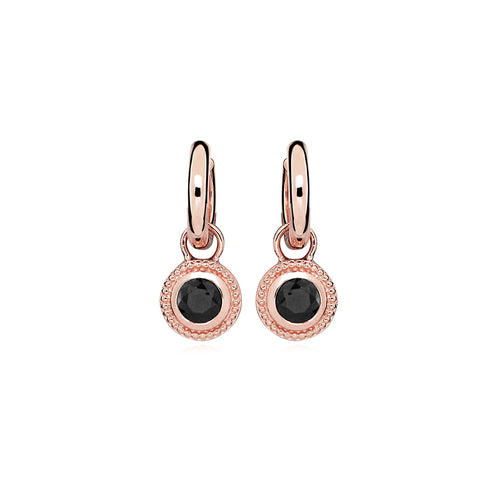 Rose Gold Plated Nella Cubic Zirconia Earrings - Black