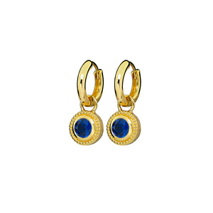 Gold Plated Nella Cubic Zirconia Earrings - Blue