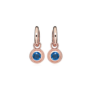 Rose Gold Plated Nella Cubic Zirconia Earrings - Blue
