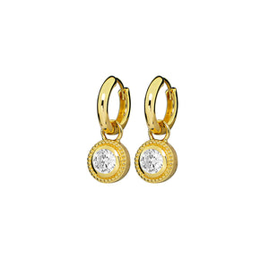 Gold Plated Nella Cubic Zirconia Earrings - White