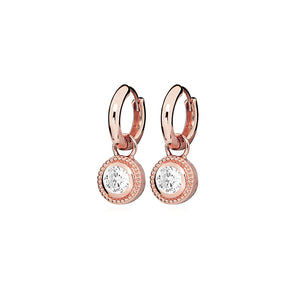 Rose Gold Plated Nella Cubic Zirconia Earrings - White