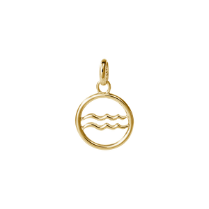 18ct Gold Plated Vermeil Aquarius Zodiac Charm