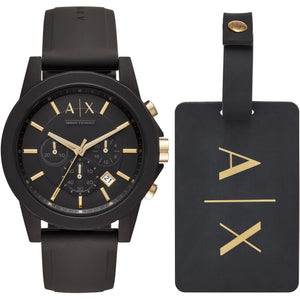 Black Rubber Gift Set Watch