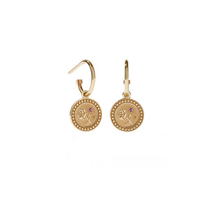 9ct Gold Amulet Earrings - Love
