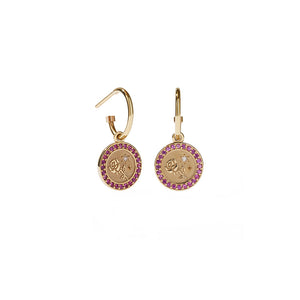 9ct Gold Amulet Earrings Pave - Love
