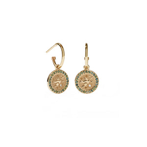 9ct Gold Amulet Earrings Pave - Peace