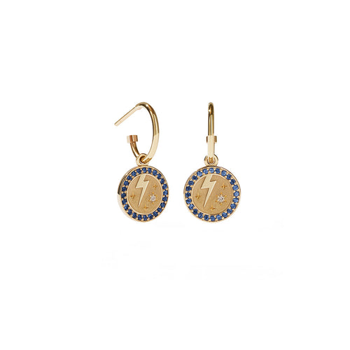 9ct Gold Amulet Earrings Pave - Strength