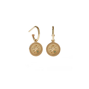 Gold Plated Amulet Earrings - Peace