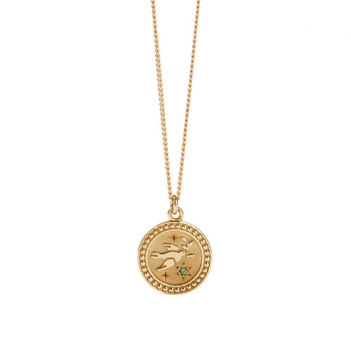 Gold Plated Amulet Necklace - Peace
