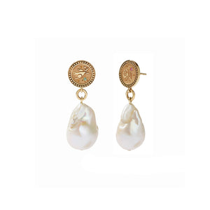 Gold Plated Amulet Pearl Drop Earrings