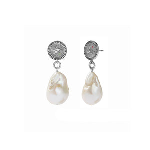 Silver Amulet Pearl Drop Earrings