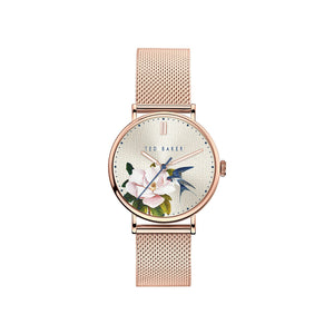 Phylipa Flowers Rose Gold Mesh Watch