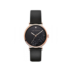Phylipa Flowers Black Leather Watch