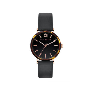 Phylipa Tort Black Leather Watch