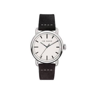 Tomcoll Silver Black Leather Watch