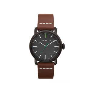 Tomcoll Black Brown Leather Watch