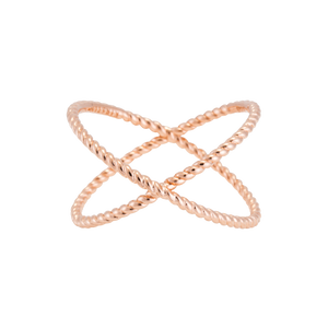 Rose Gold Plated Criss Cross Ring