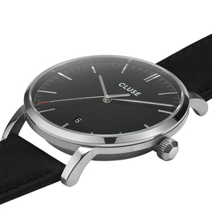 Aravis Silver Black Black Leather Watch