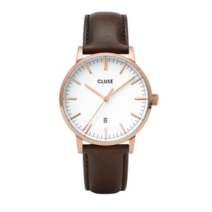 Aravis RG White Dark Brown Leather Watch
