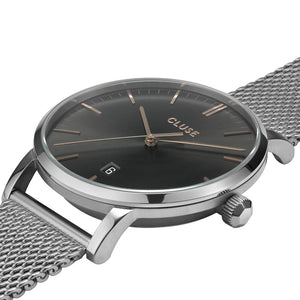 Aravis Silver Dark Grey Silver Mesh Watch