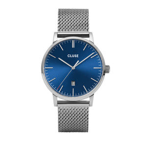 Aravis Silver Dark Blue Silver Mesh Watch