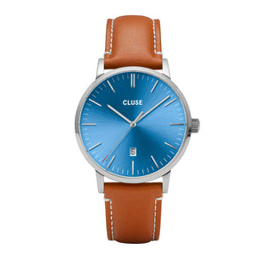 Aravis Silver Blue Light Brown Leather Watch