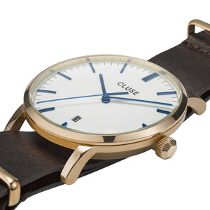 Aravis Gold White Dark Brown Nato Watch