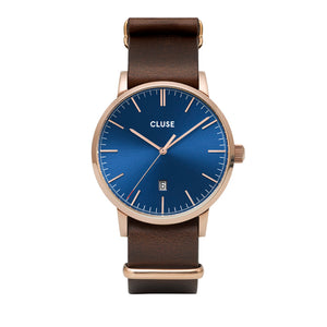 Aravis Rose Gold Dark Blue Dark Brown Nato Watch