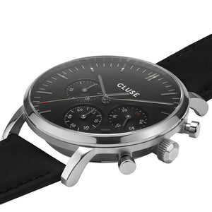 Aravis chrono Silver Black Black Leather Watch