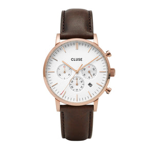 Aravis chrono RG White Dark Brown Leather Watch