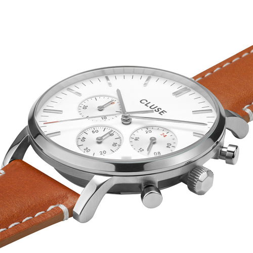Aravis chrono Silver White Light Brown Leather Watch
