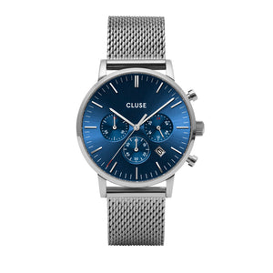 Aravis Chrono Dark Blue Silver Mesh Watch