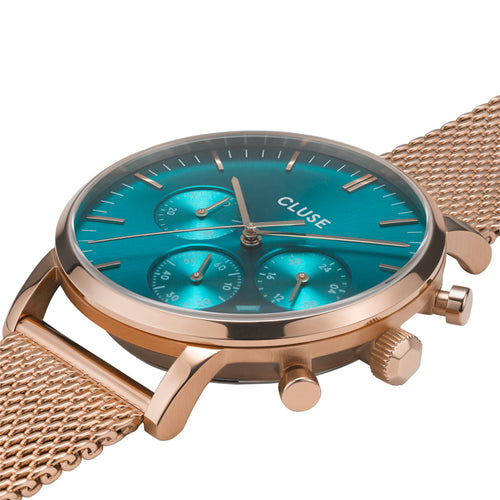 Aravis Chrono Rose Gold Ocean Blue RG Mesh Watch
