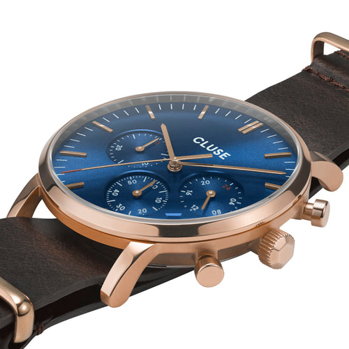 Aravis chrono Rose Gold Dark Blue Dark Brown Nato Watch