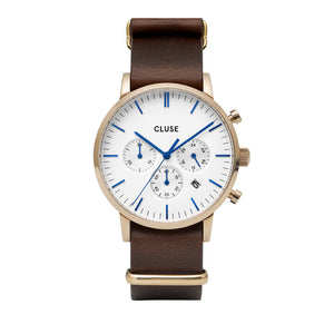 Aravis Chrono Gold White Dark Brown Nato Watch