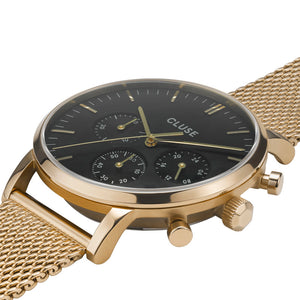 Aravis chrono Gold Black Gold Mesh Watch