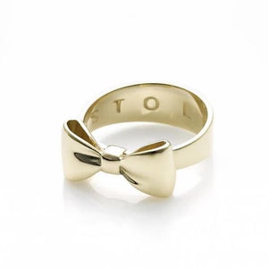 9ct Yellow Gold Silver Bow Ring