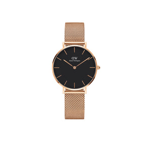 Petite Melrose Black Rose Gold Tone 28mm Watch