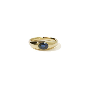 14ct Yellow Gold Claude Ring w Blue Sapphire