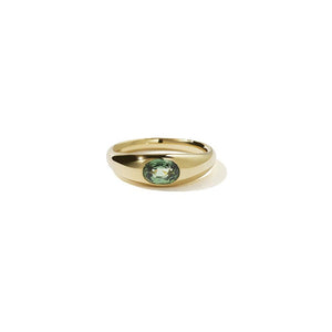 18ct Yellow Gold Claude Ring w Green Sapphire