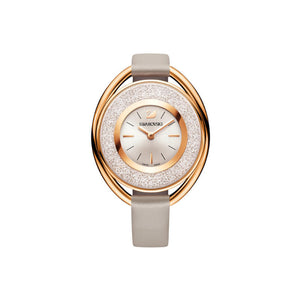 Crystalline Oval Rose Gold Tone Grey Watch