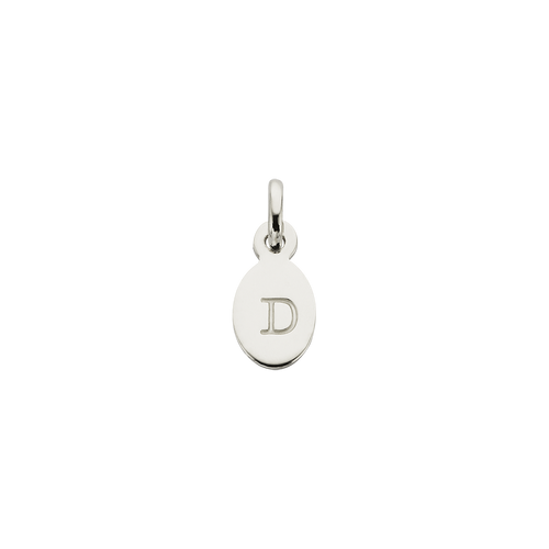 Silver D Oval Letter Charm