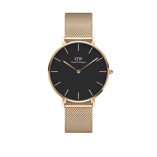 Petite 36mm Sterling Rose Gold Black Watch