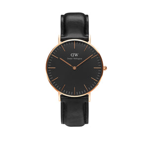 Classic 36mm Sheffield Rose Gold Black Watch